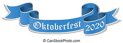 blue banner for Oktoberfest 2020 - vector illustration of an...