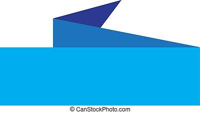 blue banner ribbon icon on white background.