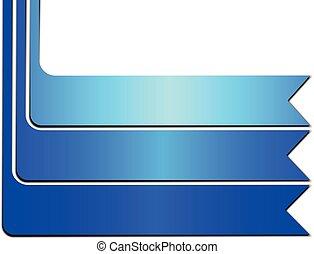 Blue Banner Ribbon on White Background