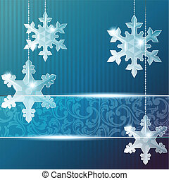 Blue banner with snowflakes