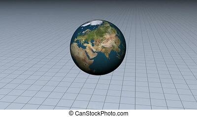 Blue bar graph with a world globe