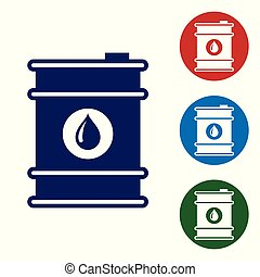 Blue Barrel oil icon isolated on white background. Set color icon in circle buttons. Vector Illustration