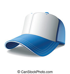 Detailed vector illustration of a blue baseball cap. Insert your graphics.