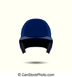 Blue baseball helmet on white background.