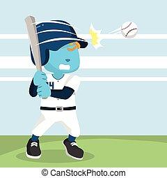 blue baseball player hitting ball