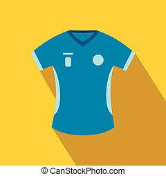 Blue baseball t-shirt flat icon