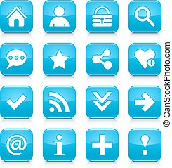 Blue basic sign rounded square icon web button