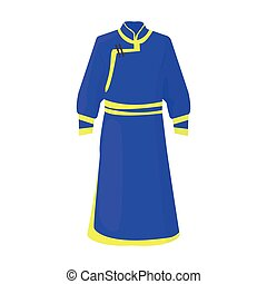 Blue Bathrobe Of MongoliansFragment Nominalnog Clothes MongoliaMongolia Single Icon In Cartoon