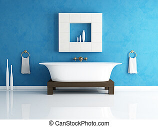 blue bathroom - retro bathtub in a modern blue bathroom -...