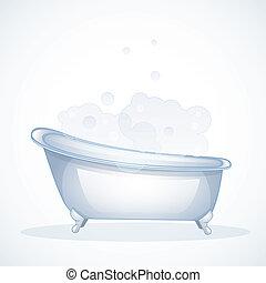 Blue bathroom - Vector illustration (eps 10) of Blue...