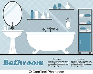 Blue bathroom interior in flat infographic style