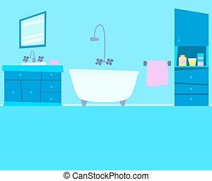 Blue bathroom with furniture