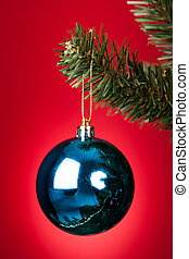 Blue Bauble On Christmas Tree