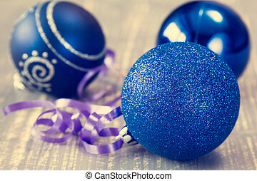 Blue baubles with ribbon