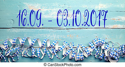 Blue bavarian background with the date from the Oktoberfest in munich