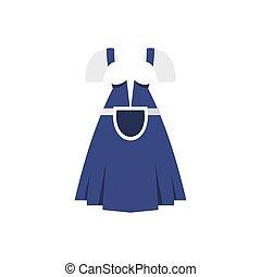 Blue Bavarian dress icon, flat style