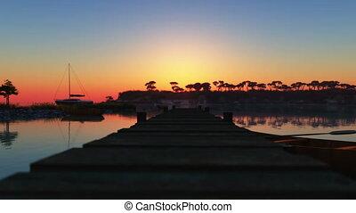 blue bay sunset 4k
