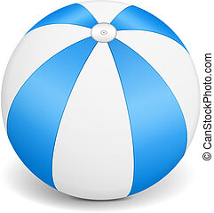 Blue Beach Ball - Blue beach ball on white background,...