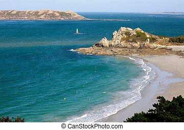 blue beach - beautiful perros guirec beach landscape in ...