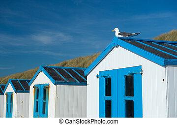 Blue beach huts