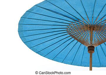 blue beach umbrella with sky