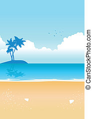 Blue Beach - Vector illustration of the beach with small...