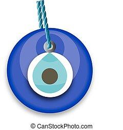 blue bead, worn to avert the evil eye