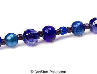 blue beads isolated on white background
