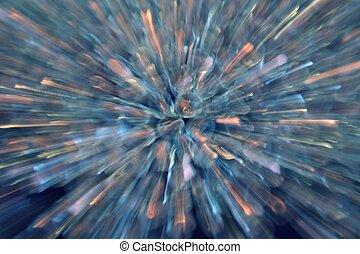 Blue Beads - starburst blur of blue crystal beads