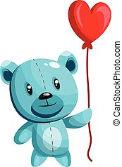 Blue bear holding a heart shaped red balloon vector illustration on white background.