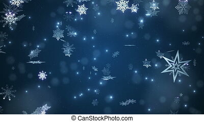 Beautiful falling snowflakes - blue winter background.