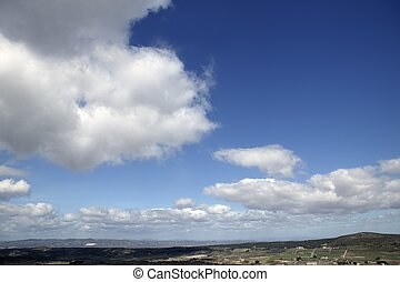 Blue beautiful sky with white clouds view in sunny day, ...