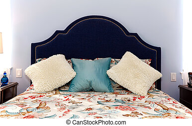 Blue Bed with luxury pillows and sheets