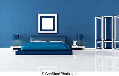 blue bedroom - contemporary blue bedroom with modern double...