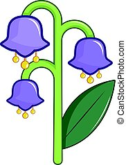 Blue bell flower icon, cartoon style