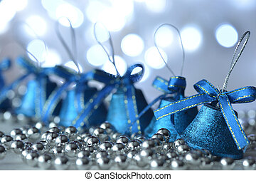 Blue bells and Christmas decorations with bokeh background