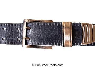 Blue belt buckle isolated on white background
