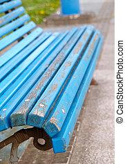 Blue bench detail