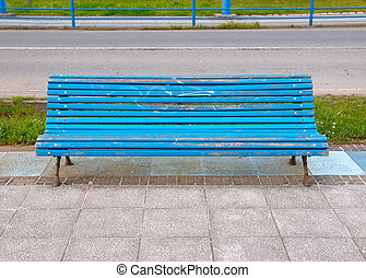Blue bench in horizontal composition