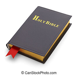 Blue Bible - Closed Bible with Red Book Mark Isolated...
