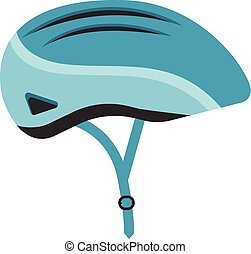 Blue Bicycle Helmet Isolated On A White Background. Vector Illustration.