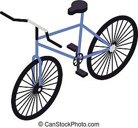 Blue bicycle icon, isometric style