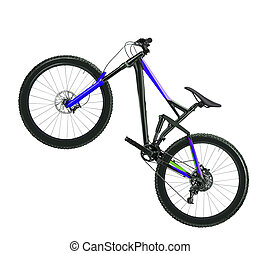 blue bicycle isolated on a white background