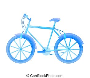 Blue bicycle isolated on white. Vector bike illustration.