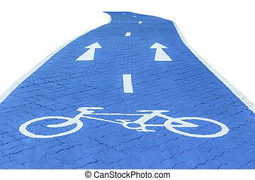 Blue bicycle lane with sign isolated on white background
