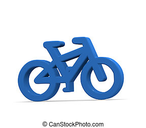 Blue bicycle on white 3d rendering