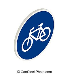Blue bicycle sign icon, isometric 3d style