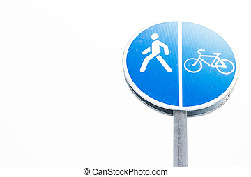 Blue Bicycle track sign on white background