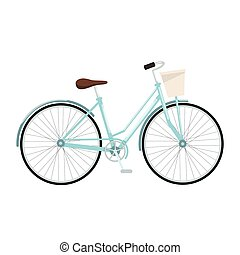 Blue bicycle with basket, vector illustration