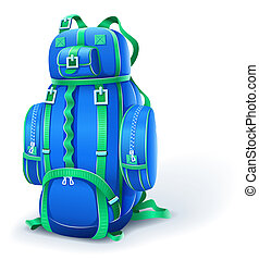 blue big backpack for travel - illustration